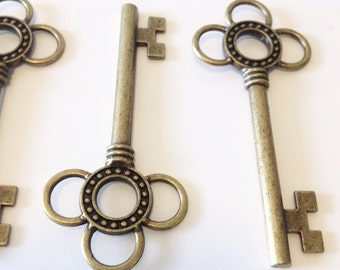 Large Skeleton Keys - 4 x Antique Bronze/Brass Skeleton Keys Large Vintage Key Set Bronze Santa Keys Jewelry Making Key Charms Key Pendants