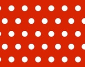 Red and White 1/2 Inch Polka Dot Fabric for MDG 100% Cotton Quilt Apparel Sewing Craft White Polka Dots on Red