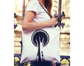 Space Needle Tote Bag, Yoga Bag, Farmers Market Bag, Seattle Shopping Bag, Book Bag, Seattle Art, Small & Large Sizes Available
