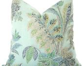 Floral Pillow - Decorative Pillow - Aqua Floral Pillow - Ishana Pillow - Cushion - Throw Pillow - Floral Throw Pillow - Accent Pillow  Linen