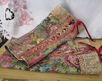 Gorgeous Tapestry Lace-Up Leg Warmers, Featuring Velvet Laces, Upper Lace-Work and Satin lining, Vintage