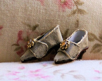 Miniature shoes - Eighteenth century style shoes - bronze silk and ornament with yellow rhinestone