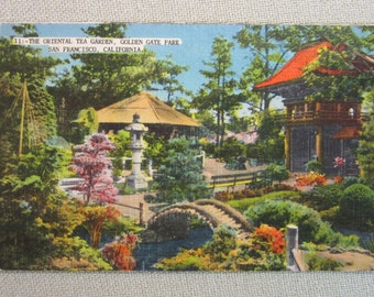 Vintage 1930's Postcard The Oriental Tea Garden Golden Gate Park San Fran.