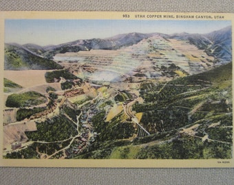 Vintage 1940's Postcard Utah Copper Mine, Bigham Canyon, Utah
