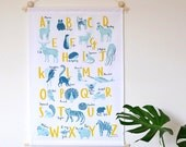 A-Z of Animals Screen Printed Wall Hanging