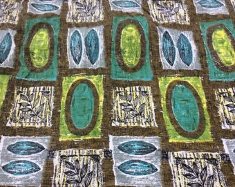 2 available Large piece of Vintage Cotton 1950s fabric abstract design in Green, Turquoise  and Brown