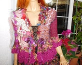 RESERVED jacket cardigan boho gypsy queen romantic handmade knitted wearable art in raspberry fairy tale unique gift idea by golden yarn