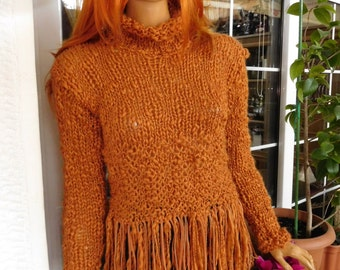 sweater chunky jumper in rusty brown real leather tassels mustard handmade knitted sweater Christmas gift idea for her by goldenyarn