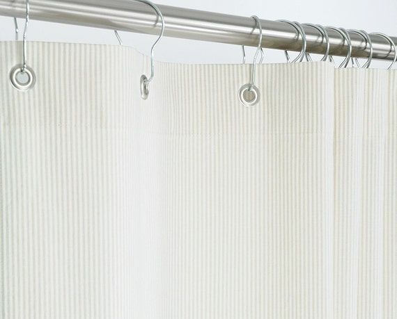 Ticking Shower Curtain Beige EXTRA LONG 72 Wide X By PondLilly