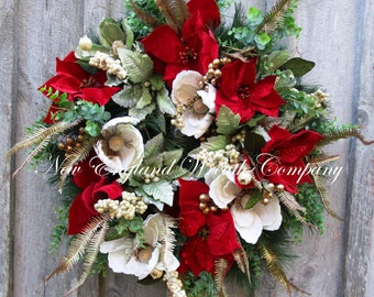 FREE SHIP THRU 12/12/16, Christmas Wreath, Holiday Wreath, Designer Christmas, Victorian Christmas, Elegant Holiday, Poinsettia Wreath