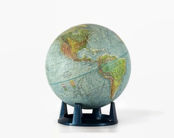Vintage World Globe, Land and Sea Globe, Replogle Globe, 1960s Globe with Stand