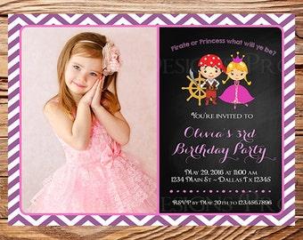 Pirate or Princess Birthday Party Invitation, Photo, Princess or Pirate Girl Birthday Invite Princess, Pink, Purple, Digital, Printable