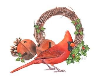 Cardinal watercolor print CW3616, Christmas Cardinal painting, Christmas wall art, A4 size medium print