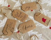 Holiday Gift Tags set of 10 hand drawn