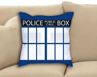 Doctor Who TARDIS Door Police Public Call Box Logo Fan Art Throw Pillowcase