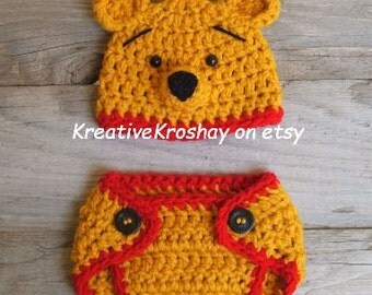 """Winnie the Pooh """"inspired"""" Bear Hat &  Diaper Cover  (newborn-3month size)"""