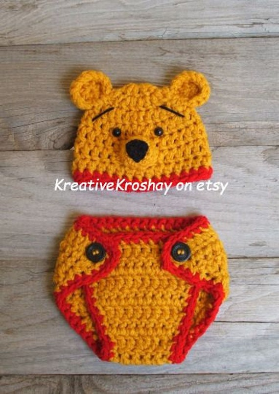 "Winnie the Pooh ""inspired"" Bear Hat &  Diaper Cover  (newborn-3month size)"