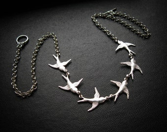 Flock of Birds ATS® necklace. Bird by Bird. In Antique Brass, Black Patina, or Bright Silver