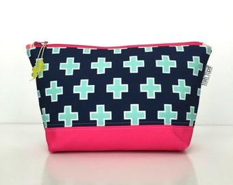 Navy Plus Large Cosmetics Bag, Blue Geometric Zipper Pouch, Swiss Cross Diaper Bag Organizer, Eco Make Up Bag + Glass Bead, Recycled Gift
