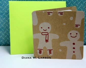 "Tiny envelopes, Set of 8 cards 2.5"" x 2.5"" Gingerbread  cards with Handmade  envelopes,"
