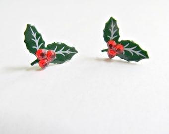 Holly Berry Stud  Earrings