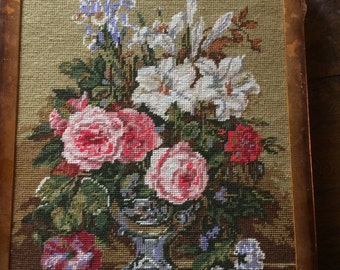 Vintage French Bouquet  hand made needlepoint ,