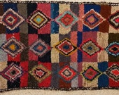 FREE SHIPPING WORLDWIDE L22246 vintage boucherouite rug, moroccan rugs , rag rug, berber tribal art, morocco carpets, wall art