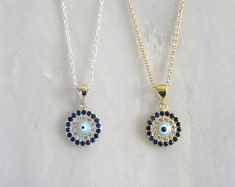 Petite Evil Eye Gold Necklace with CZ Accents