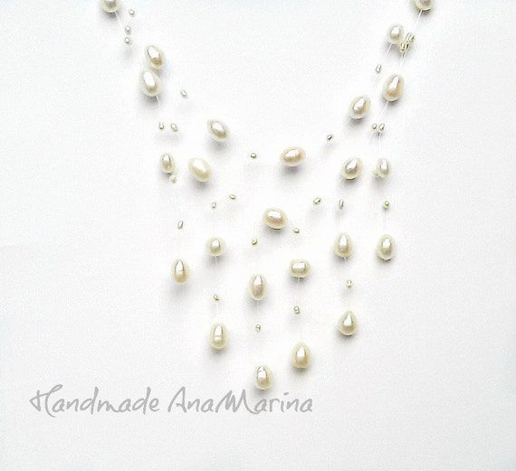 Floating necklace, Real Pearl necklace, bridal jewelry, Illusion Necklace, white Freshwater Pearls  -  For Brides Bridesmaids