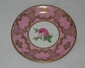 Pink Rose Gilt Mitterteich Bavaria Germany Demitasse Saucer Marked 06 Pattern 22547 Ornate Vintage Saucer Tiny Elegant Plate Gift For Her