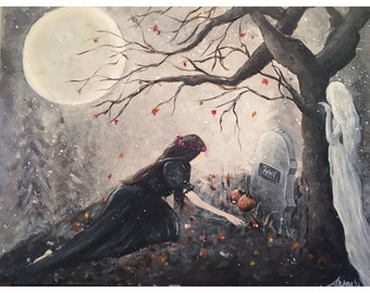 Mourning the Spirit - Original Acrylic Painting on Board~ Cemetary ~ Witch Places a Rose on her Grave ~ Full Moon ~ OOAK Spooky Art