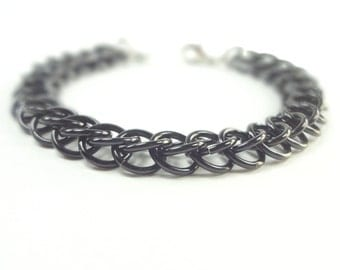 Black Chainmaille Bracelet Persian Weave In Anodized Aluminum