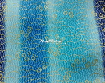 Gold-metallic water wave and cherry, pblue marbled stripe, 1/2 yard, pure cotton fabric