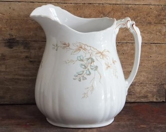 Vintage White Pitcher John Edwards, Luxemburg, Porcelain de Terre, Blue and Brown Flowers