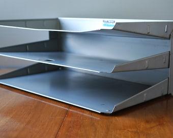 Vintage Gray Metal Paper Tray Set -Three Tier Paper Tray - Industrial - Desktop Organizer - Mad Men