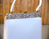 RESERVED for Eileen  Vintage 1960s Purse White Vinyl with Gold and White Scrollwork by L & M Spotlight Exclusive Faux Leather Vegan Friendly
