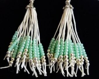 Seed bead tassel earrings, waxed linen seed bead earrings, tassel earrings, seed bead earrings, white silver seafoam green earrings