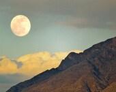 Mountain Full Moon Photography Print 12x18 Fine Art New Mexico Sandia Mountains Rustic Sunset Desert Winter Landscape Photography Print.