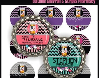 Pharmacy Editable Bottle Cap Images, 4X6 Digital Collage Sheet, Chevron Nurse BottleCap One Inch Circles for Pendants, Badge Reels, Magnets