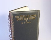 1886 FELL IN LOVE Handmade Journal Vintage Upcycled Book Anniversary Gift