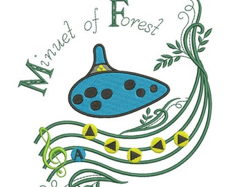 Legend of Zelda Ocarina Minuet of Forest Embroidery Design