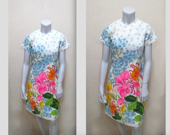 Groovy Mod 1960s Psychedelic Fantasy Flower Garden Shift Dress