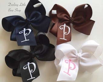 Extra Large Monogrammed Bow ---you choose initial and ribbon colors