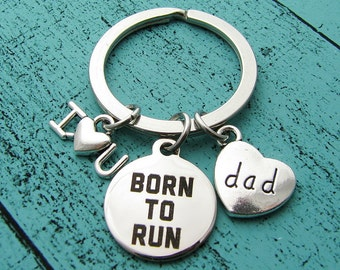 fathers day gift, fathers day running gift, I love you dad keychain, marathon runner dad, gift from children, dad love running, athlete gift