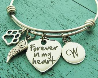 pet memorial gift, dog memorial cat, pet loss bracelet, loss of pet memorial jewelry, pet sympathy gift, pet death, forever in my heart