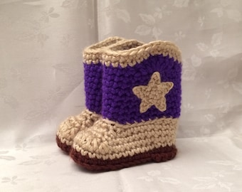 Purple and Tan Crochet Cowboy Booties, Made to Order,  Cowgirl Booties, Cowgirl Boots, Infant Girl Boots