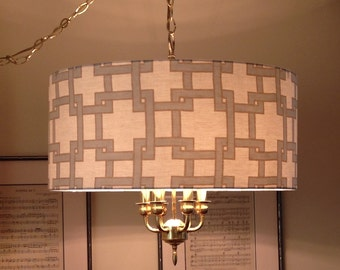 Large Modern Drum Lampshade Pendant Light Chandelier in Blue and Taupe Fabric