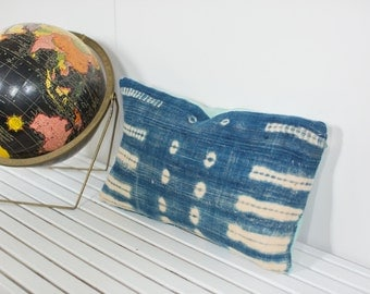 Vintage Indigo Blue Batik Pillow