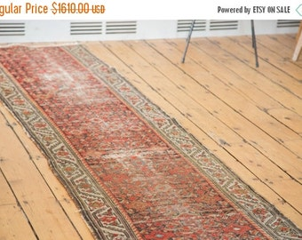 HAPPY SUMMER 10% OFF Discounted 2.5x16 Antique Distressed Hamadan Rug Runner
