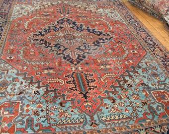 8.5x11.5 Vintage Heriz Carpet